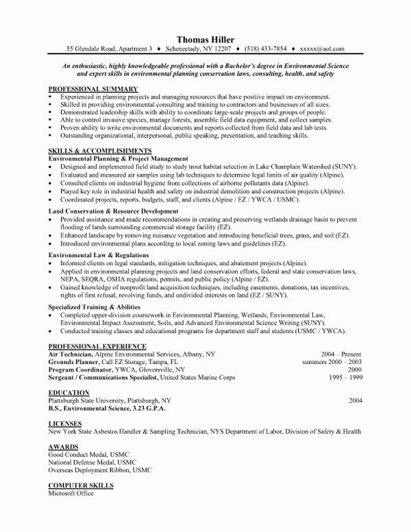 Environmental Science, Entry Level|Resume Samples|Vault.com