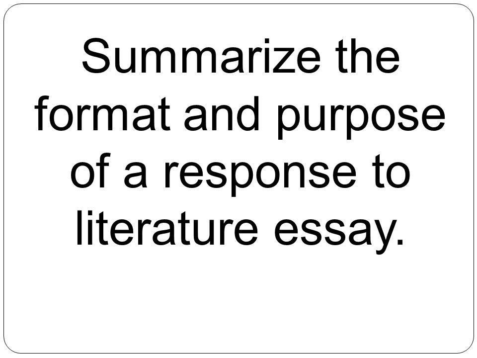 response to literature essay writing intro paragraph with thesis - Response To Literature Essay Format