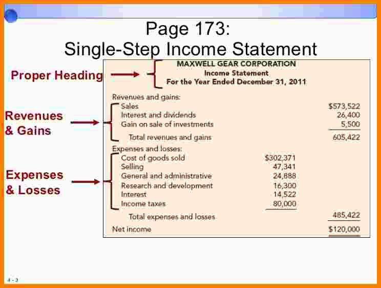 6+ single step income statement   Statement Information