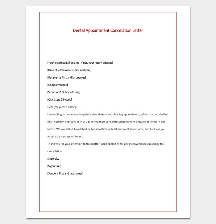 Dental Appointment Cancelation Letter PDF Format 2 | Letter ...