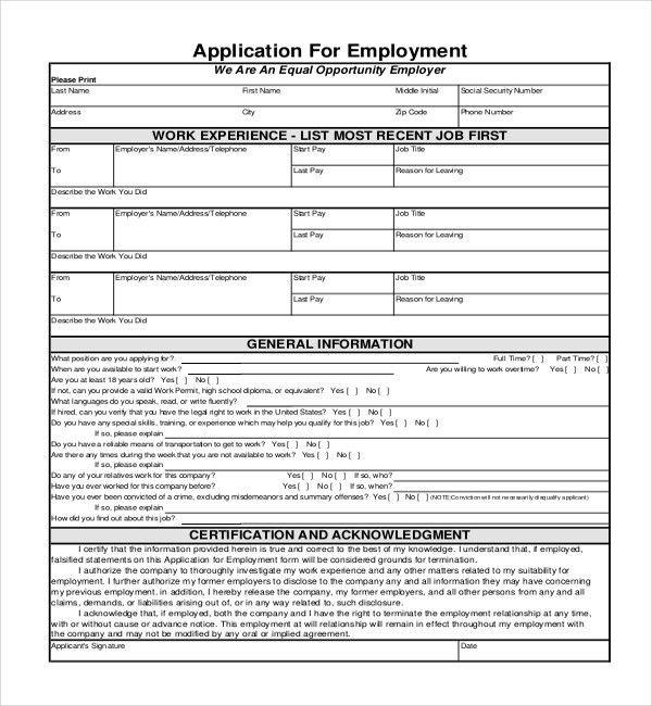 Printable Employment Application. Employment-Application-Printable ...