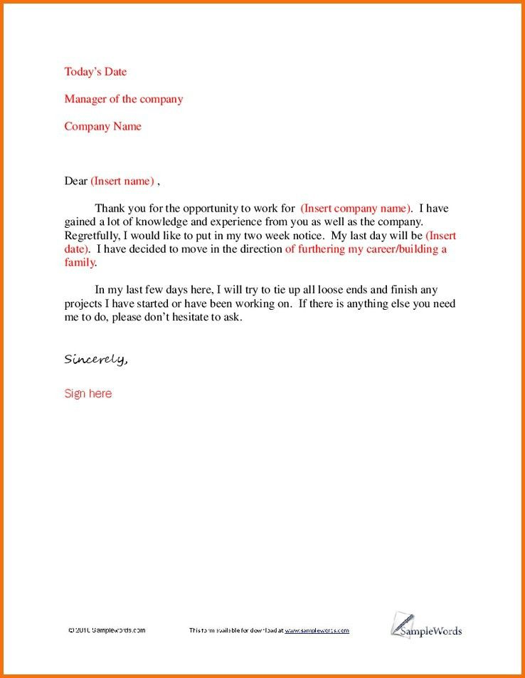 Resignation Letter Family Reason. 3 Simple Resignation Letters ...