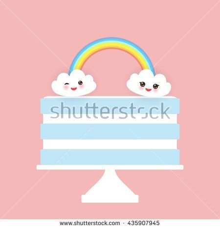 Happy Birthday Card Design Cupcake Kawaii Stock Vector 315146444 ...