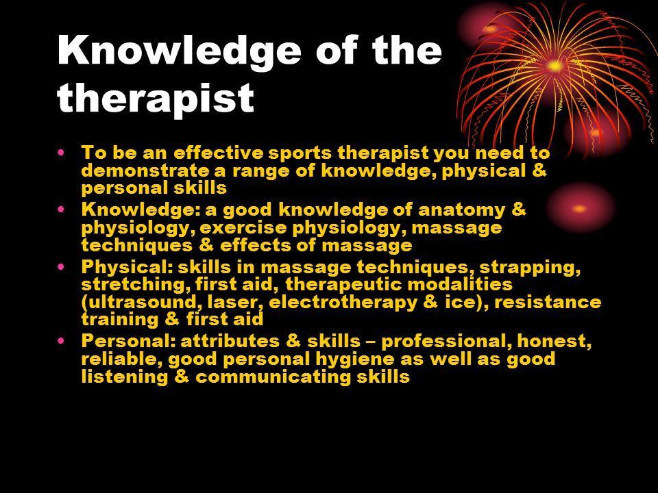 Role of the therapist. Role of the sports massage therapist The ...