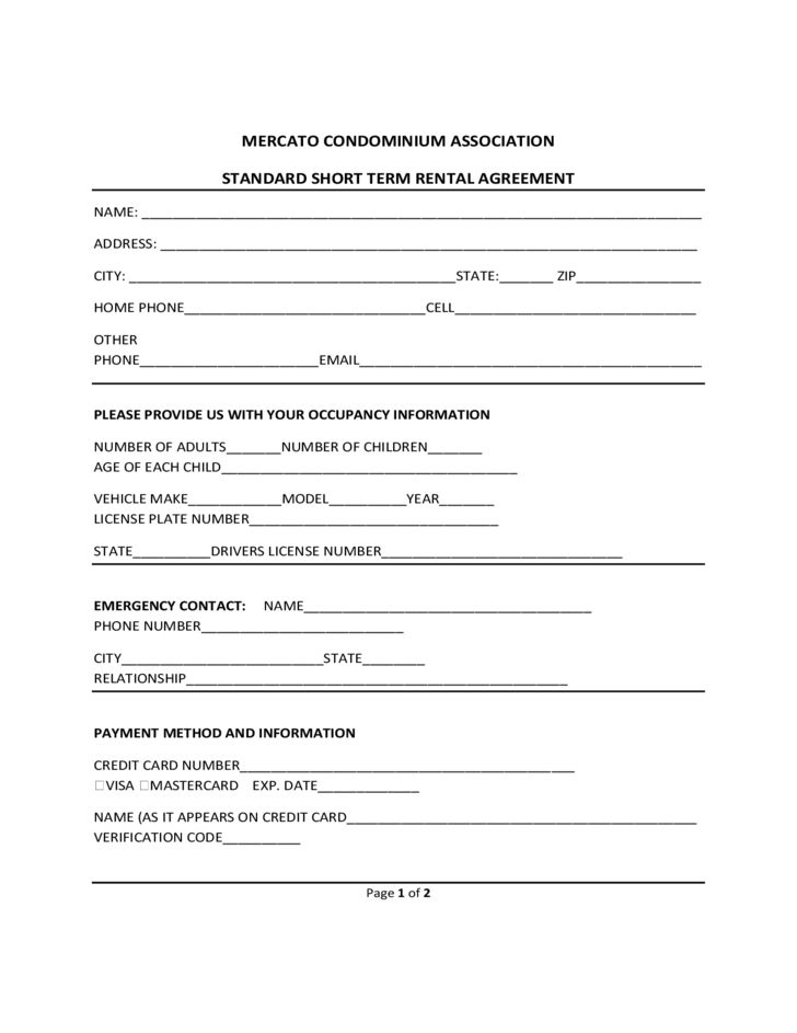 Short Term Rental Contract Form - Michigan Free Download