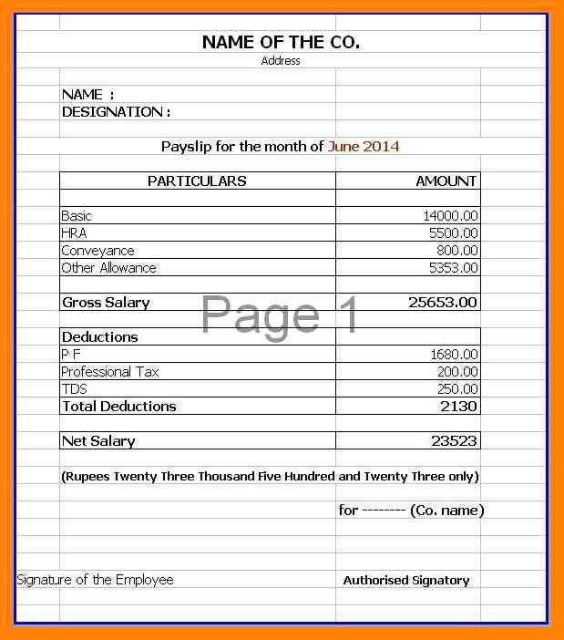 Payslip Template. Sample Cash Slip Template - 7+ Free Documents ...