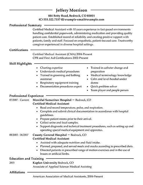 Medical Resume Examples. Medical Resume Example - Medical Resume ...