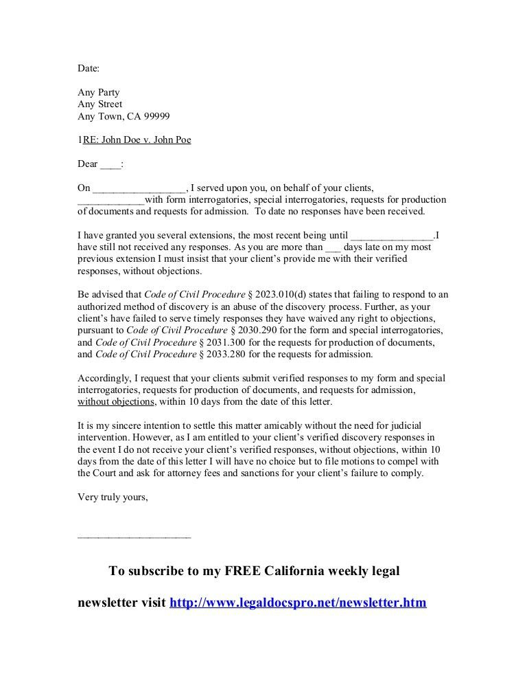 Sample California meet and confer letter