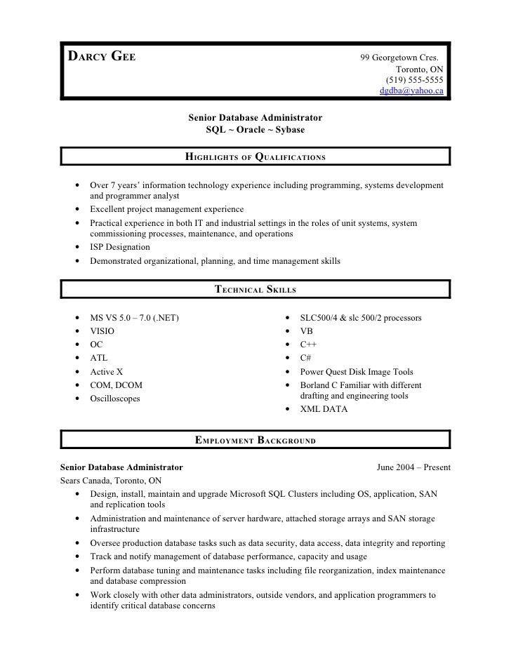 sample database administrator resume database administrator