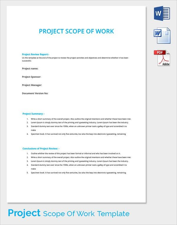 Scope of Work - 22+ Dowload Free Documents in PDF, Word, Excel