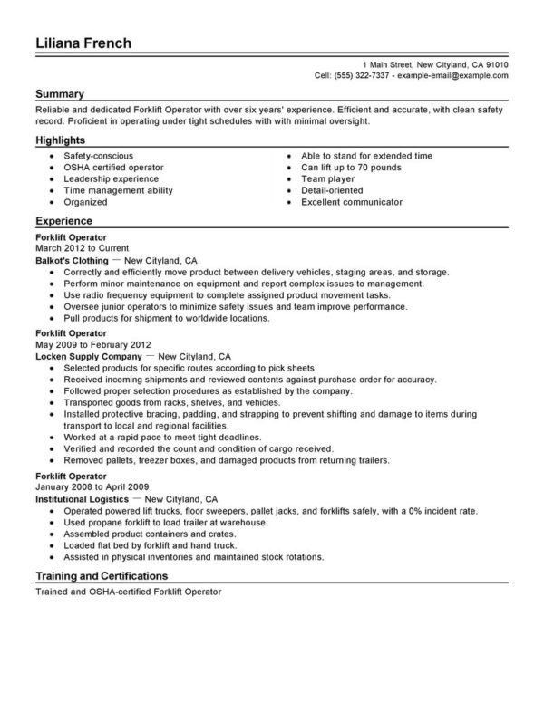 Perfect Sample of Forklift Operator Resume Featuring Experience ...