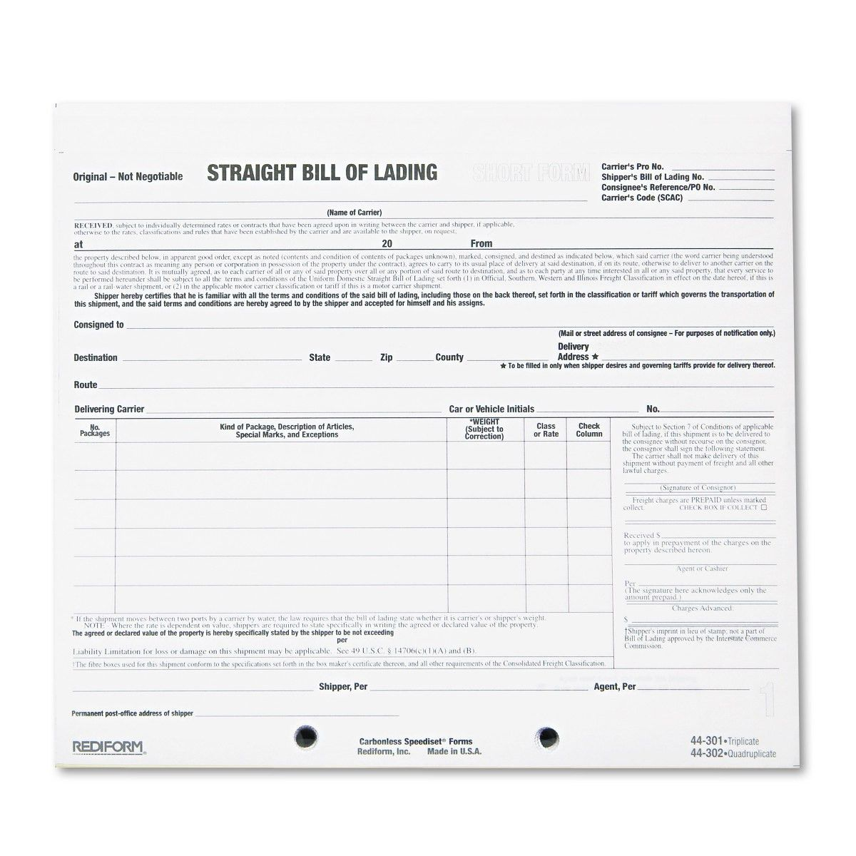 Rediform Bill of Lading Short Form, 7 x 8 1/2, Three-Part ...