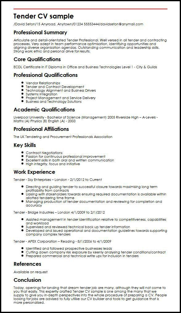 Tender CV sample | MyperfectCV