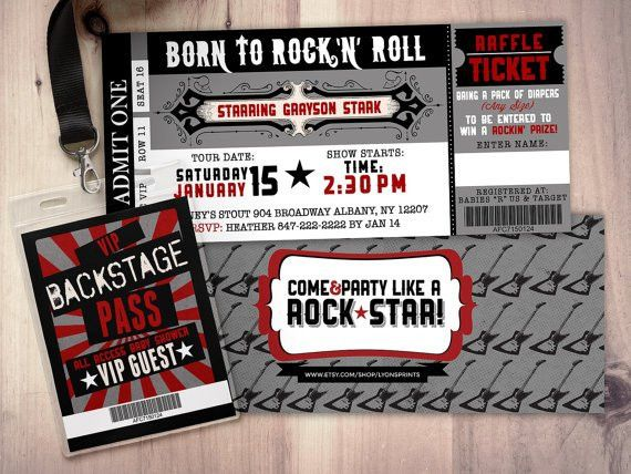 ROCK STAR concert ticket baby shower by LyonsPrints on Etsy | Baby ...