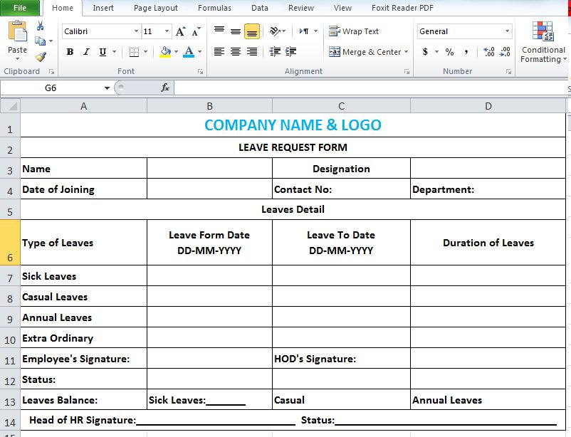 Employee Leave Application Form Sample