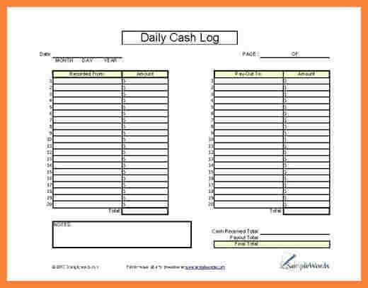 4+ cash log sheet | Bussines Proposal 2017