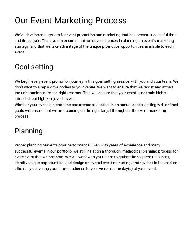 Event Marketing Proposal Template