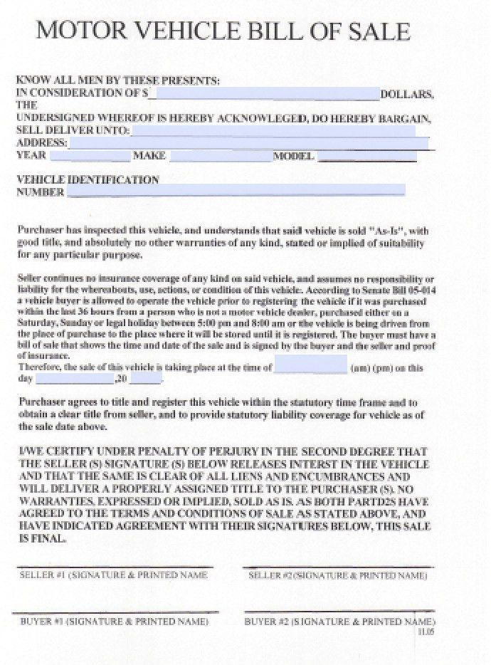 Free Colorado DMV Bill of Sale Form | PDF | Word (.doc)