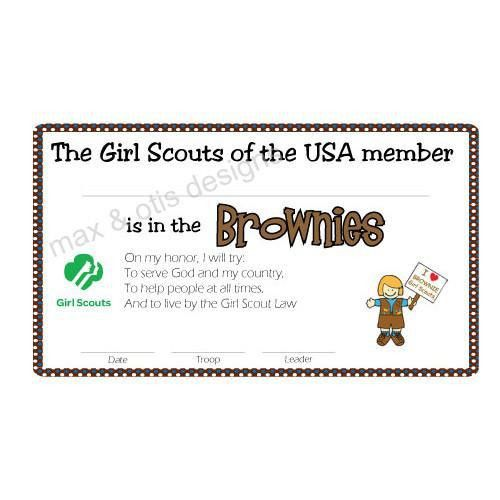 Girl Scout Brownie Printable Membership Cards (editable PDF) – Max ...