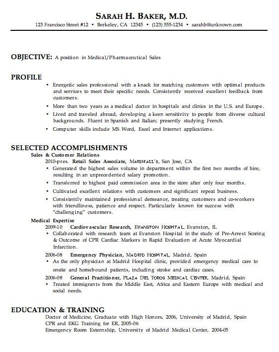 Medical Sales Resumes. medical registrar sample resume cover ...