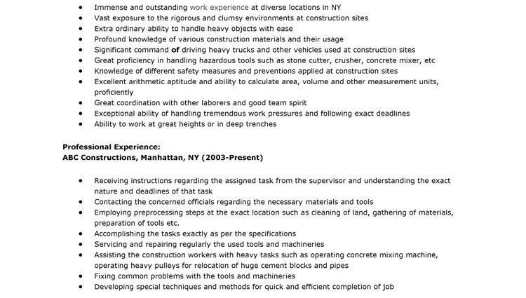 sample resume for construction worker construction worker resume