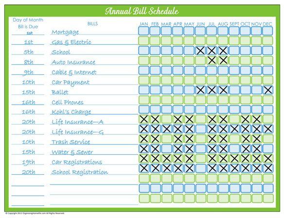 Never pay a bill late again with my Monthly Bill Pay Schedule ...