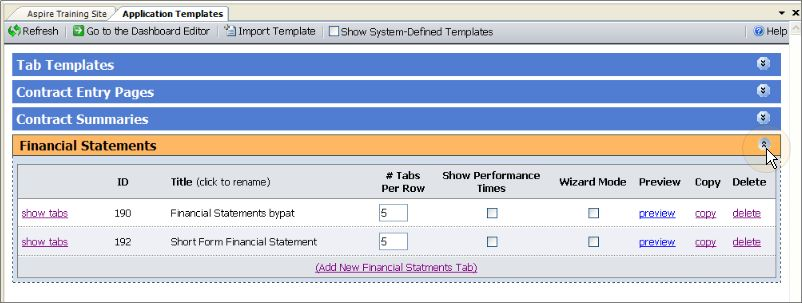 Financial Statements Tab Template Configuration