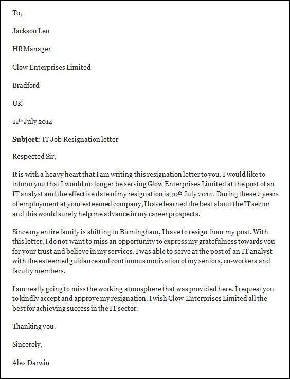 professional resignation letter format job resignation letter ...