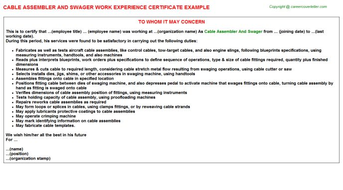 Cable Assembler And Swager Work Experience Certificate