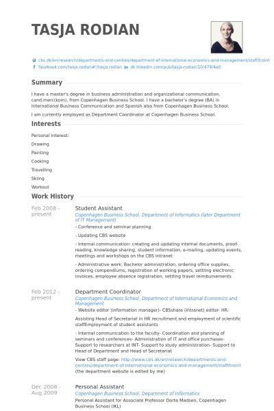 Student Assistant Resume samples - VisualCV resume samples database