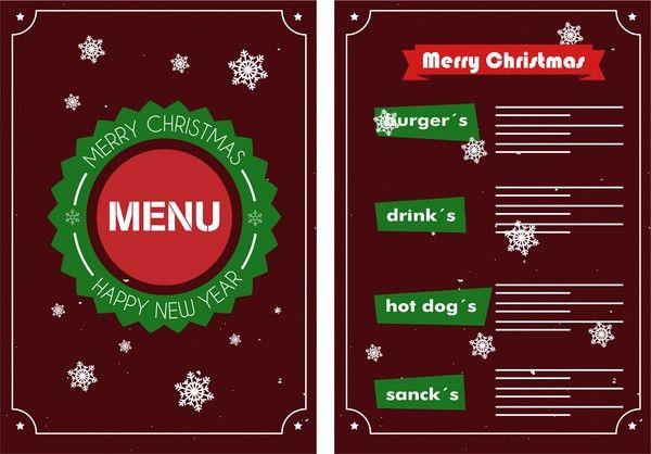 Christmas menu design snowflakes on dark background Free vector in ...
