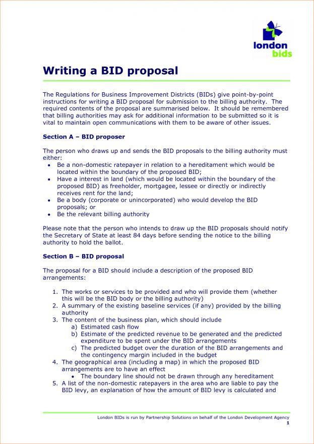 Bid Proposal Example Eid Card Template Printable Loose Leaf ...
