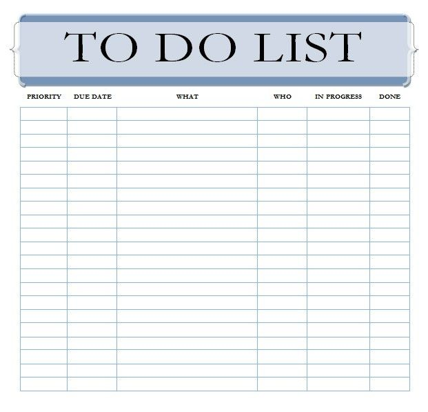 Weekly Work To Do List Template | to do list template
