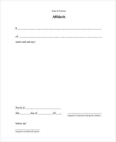 Blank Affidavit Form Samples - 19+ Free Documents in Word, PDF