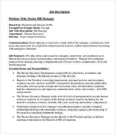 Human Resource Manager Job Description - 10+ Free Word, PDF Format ...