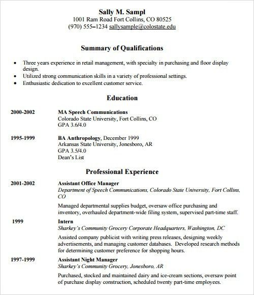 Sample Resume Template - 24+ Free Samples , Examples , Format