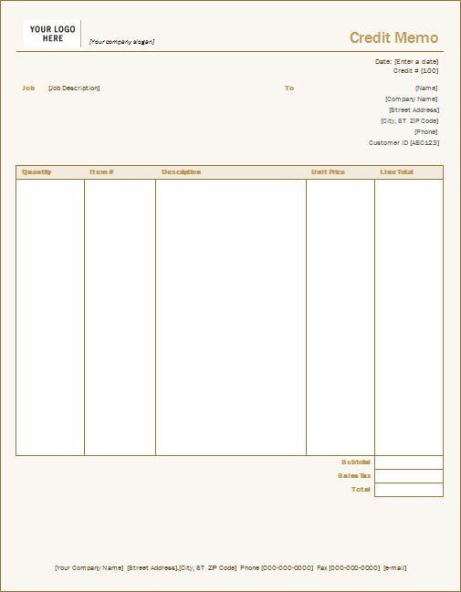 Credit Memo Sample - Download The Sample of Credit Memo in Word Format
