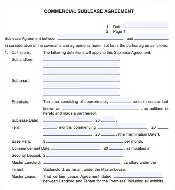 Sublease Agreement Sample  BesikEightyCo
