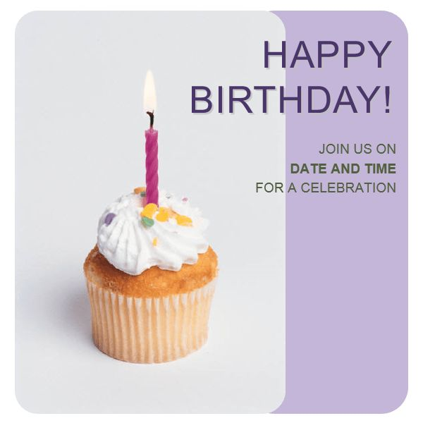 Birthday invitation flyer (with cupcake) - Office Templates