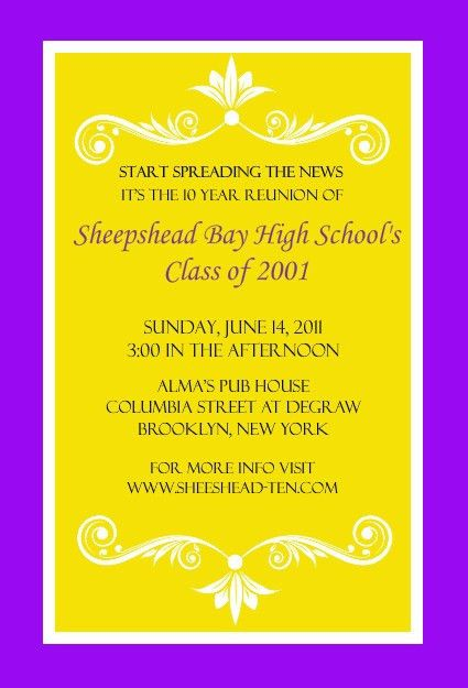 Class Reunion Invitations Templates [Template.billybullock.us ]