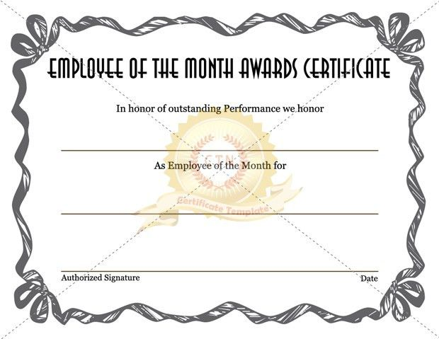 Employee of the month Awards Certificate - Certificate Template