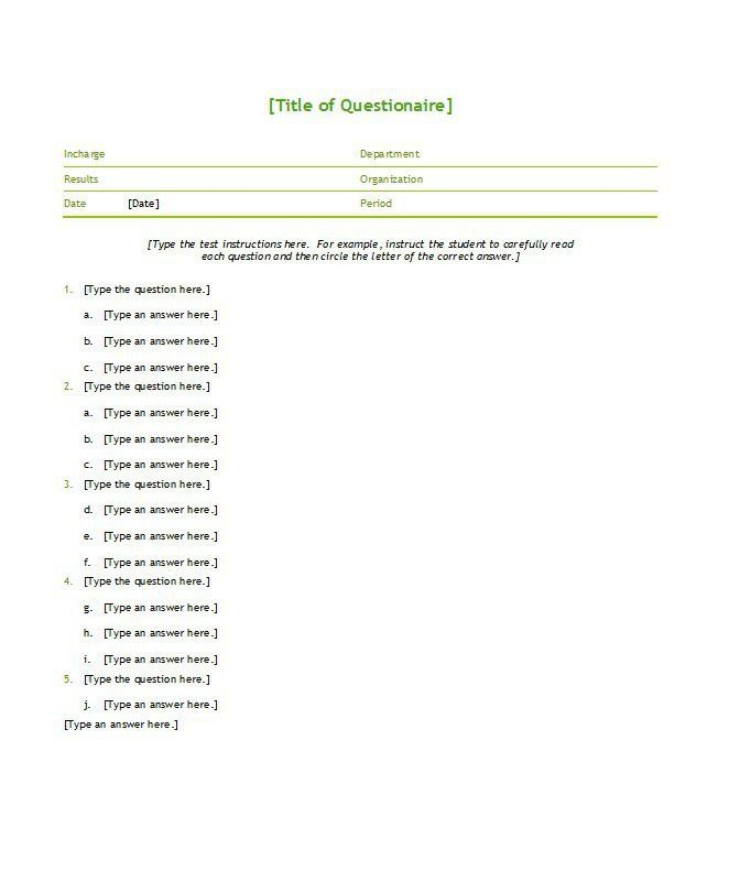 33 Free Questionnaire Templates (Word) – Free Template Downloads