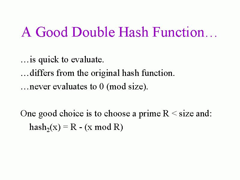 A Good Double Hash Function