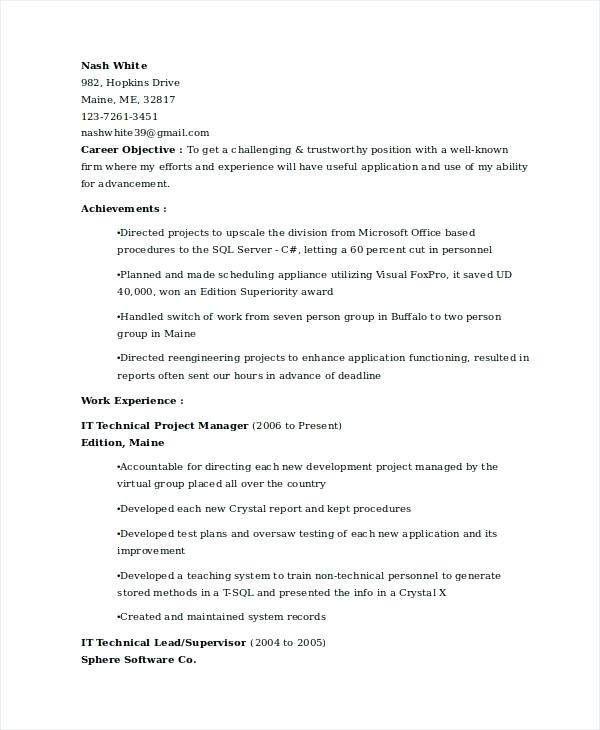 Technical Project Manager Resume – Okurgezer.co