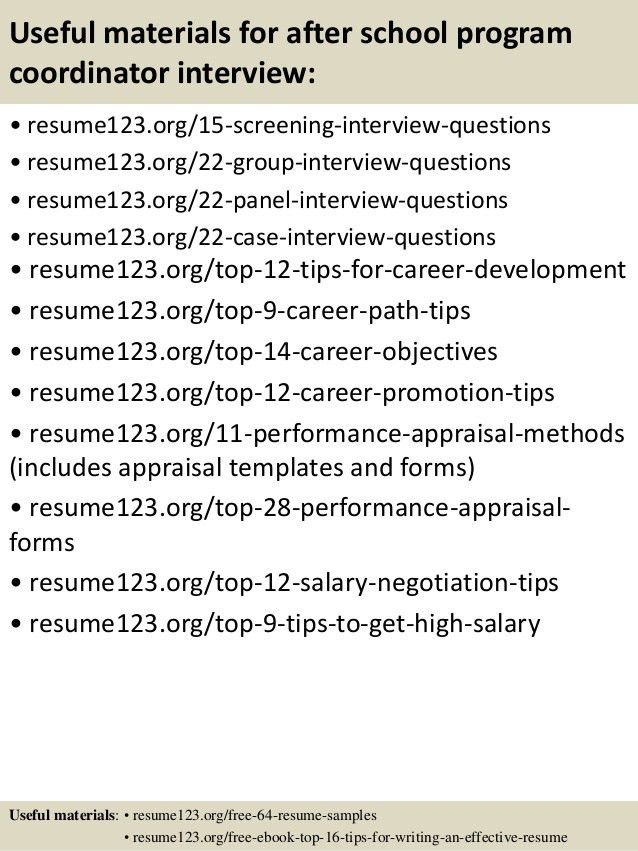 Top 8 after school program coordinator resume samples