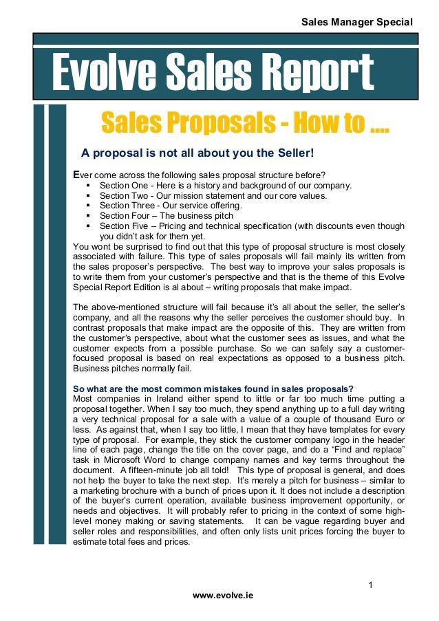 Ho to write a sales proposal that wins the business special report
