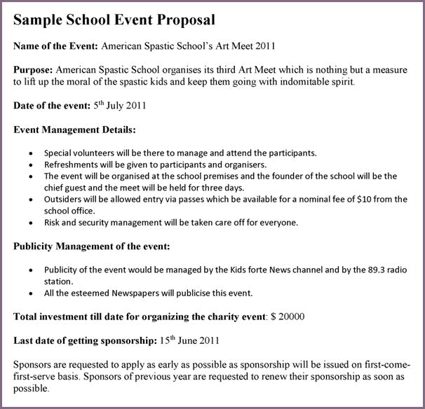 EVENT PROPOSAL LETTER SAMPLE | proposalsampleletter.com
