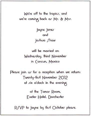 Informal Wedding Reception Invitation Wording - vertabox.Com