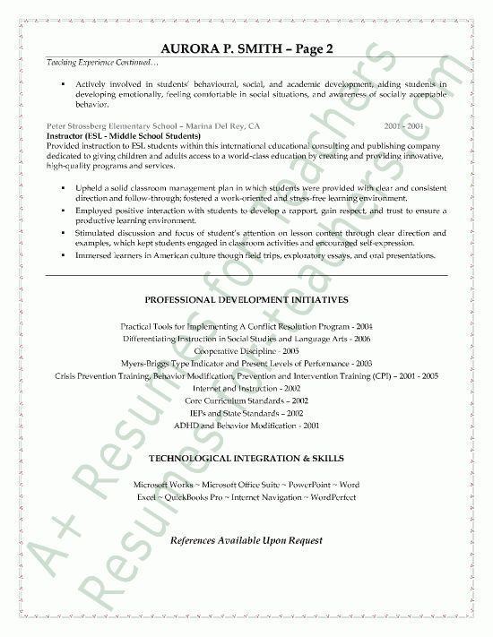 Education Teacher Resume Sample - Page 2
