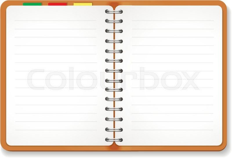 Illustration of a leather notebook with spiral, colorful tabs ...